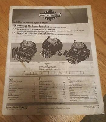 Briggs & Stratton OPERATING & MAINTENANCE INSTRUCTIONS 210000, 280000 & 310000