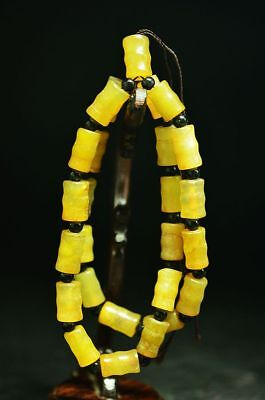 Superior quality Chinese old jade carved ball Prayer Necklace Y34