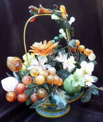 "LARGE 11"" Vintage Chinese FRUIT & FLOWER BASKET Jade Agate Hard Stone Cloisonné"
