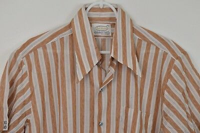 Vintage 1960s 1970s BUD BERMA Button Up Front Short Sleeve Striped Large Brown