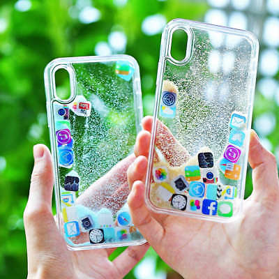 Quicksand Glitter Dynamic Clear Liquid Case Cover For iphone X XS 7 6S 8 Plus