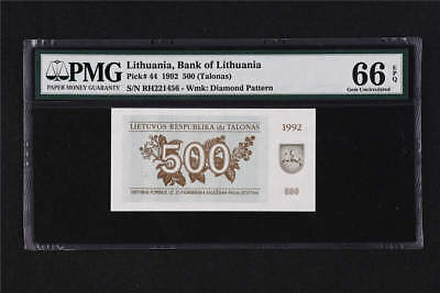 1992 Lithuania Bank of Lithuania 500 Talonu Pick# 44 PMG 66 EPQ Gem UNC