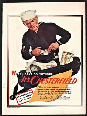 1943 WWII U.S. NAVY SAILOR Chesterfield Cigarettes Smoking Vintage Photo AD