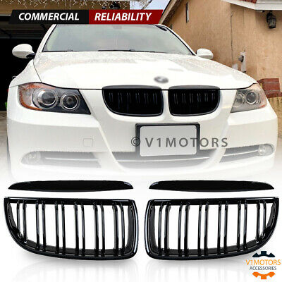 Gloss Black Front Bumper Kidney Grill Dual Line for BMW E90 320i 325i 2005-2008