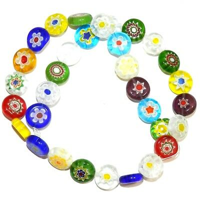 """G4492 Assorted Color 12mm Flat Round Coin Millefiori Flower Glass Beads 14"""""""