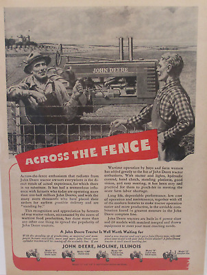 Original 1945 John Deere Tractor Ad ACROSS THE FENCE...WORTH WAITING FOR