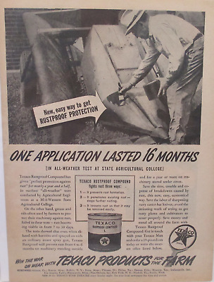 1945 Texaco Rustproof Compound Original Print Ad