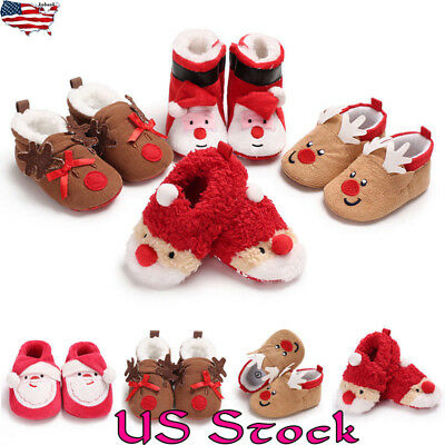 US Kids Baby Boys Girls Xmas Christmas Slippers Winter Warm Indoor Slip on Shoes