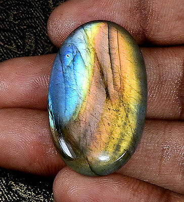 "Natural ""Top rich"" Purple labradorite Cabochon Gemstone Oval 37.50cts.;#23018"
