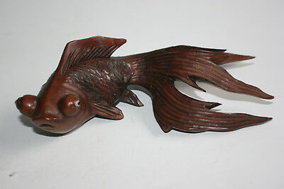 Chinese Wooden Hand Carved Gold Fish Figurine Ornament
