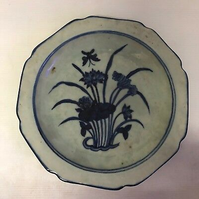 Antique Chinese  Blue & White Charger Plate : Flower & Insect Design