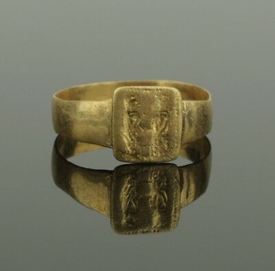 Ancient Medieval Gold Ring - Circa 13Th Century Ad  021