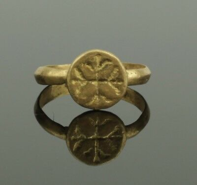 Ancient Medieval Gold Ring With Cross Decoration- Circa 13Th Century Ad  024