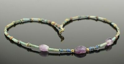 Ancient Egyptian New Kingdom Faience Bead & Amethyst Scarab Necklace 022