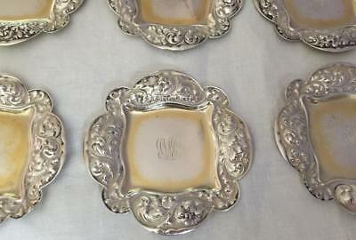 6 Antique 19C Gorham Sterling Butter Pats Dishes Repousse Foliate Border Eng RMB