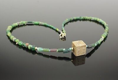 BEAUTIFUL ANCIENT ROMAN DICE, DIE & GLASS BEAD NECKLACE - CIRCA 2nd Century AD 5