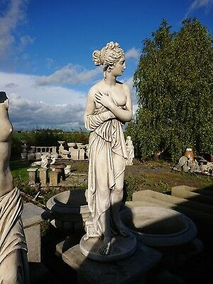 Stone Garden Statue Girl Sitting On Column 34 Tall Used In