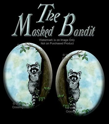 Masked Bandit Raccoon Earrings - Wildlife Art Post Stud Pierced - Free Ship  Blu