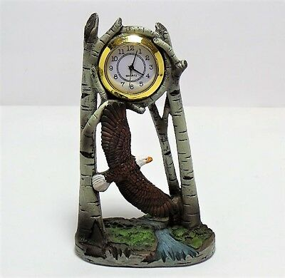 """Porcelain Table Clock - Eagle in the Woods Design - 6"""" x 3"""""""