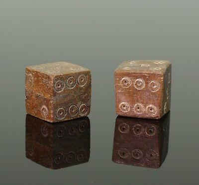 FABULOUS PAIR OF ANCIENT ROMAN CARVED DICE - CIRCA 2nd Century AD
