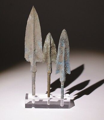 3 X Museum Quality Bronze Age Arrowheads Luristan,persia 1200-800Bc   0102
