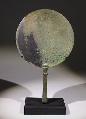 FABULOUS LARGE ANCIENT ROMAN BRONZE MIRROR COMPLETE - 2nd/3rd Century AD