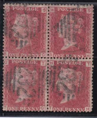 1861 1d. rose-red BLOCK OF FOUR SG 43 plate 74 (SG, TH)  - fine used.
