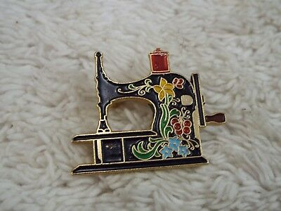 Vintage CLOTILDE Enamel 20 Years 1971-1991 Sewing Machine Pin (A33)