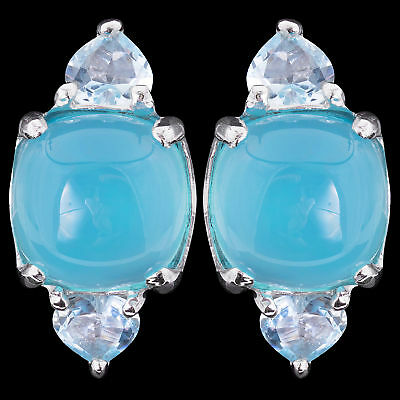 100% Natural 10Mm Blue Chalcedony & Sky Blue Topaz Sterling Silver 925 Earring