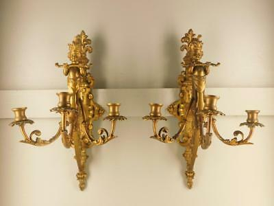 Antique Pr Greek Mythology Figural Young Poseidon Ornate Bronze Candle Sconces