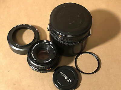 Minolta MD PANCAKE Rokkor-X 45mm 1:2 Lens Digital/Manual Cameras+Filter/Case/Hoo