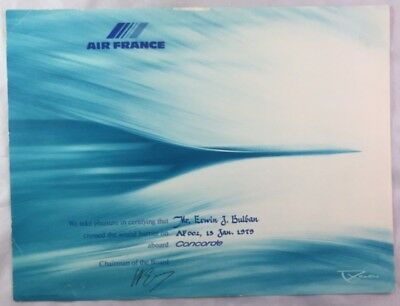 Original 1979 Air France Concorde Airliner Certificate / Crossed Sound Barrier