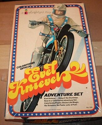 Opened Vintage Original 1974 Colorforms Evel Knievel Adventure Set Complete Nos
