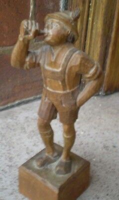 Vintage Carved Wooden Figure Of A Boy Blowing A Horn - Possibly Black Forest