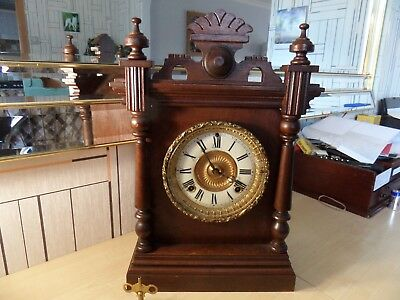 "Lovely American ""ansonia"" Chiming Mantle Clock With Unusual Adjusting Movement"