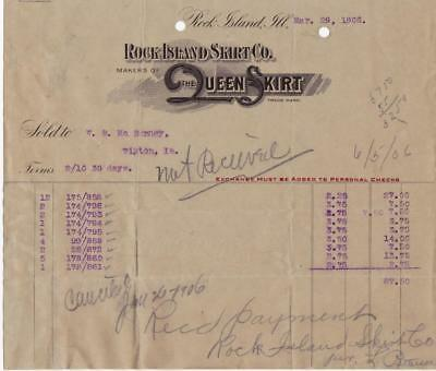 1906 Invoice Rock Island Skirt Co. Rock island, Il. Makers of the Queen Skirt