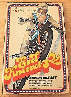 Nos Vintage Original 1974 Colorforms Evel Knievel Adventure Set Complete Unused