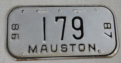 1986/87 Mauston Wisconsin bicycle license plate