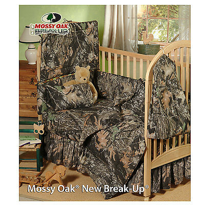 Mossy Oak Camo Crib Set, Camouflage Baby Bedding 6pc Bumper Comforter Sheet