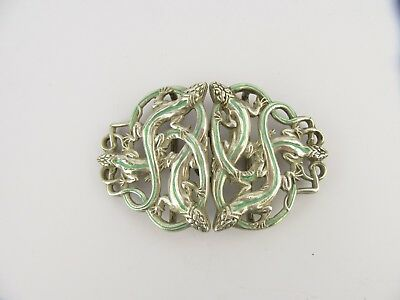 Heavy Cast Silver & Enamel Intertwined Lizards Nurses Belt Buckle, London 1999