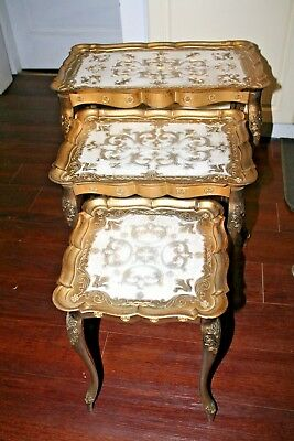 Vintage Set of 3 NESTING Side TABLES Hollywood Regency / Italian Florentine Gold