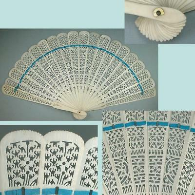 Antique Carved & Pierced Bone Fan * Canton Export * Late19th Century