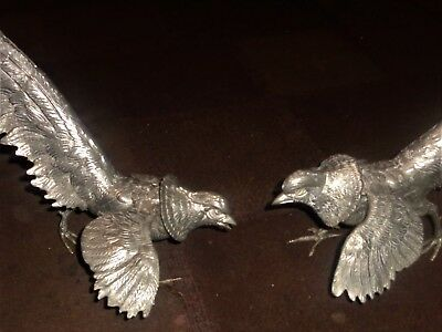 A Pair Of Silver Plated Pheasant Menu Card Holders