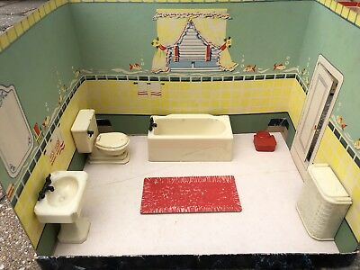 Vintage Renewal Dollhouse Lot Furniture Add A Room Bathroom Lot