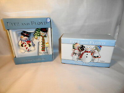 Fitz & Floyd Frosty Friends  Salt & Pepper Shakers And Tumblers Snowman