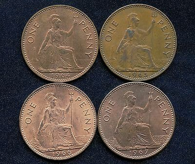 Great Britain 1964 1965 1966 & 1967 1 Penny Coins