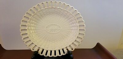 ANTIQUE WEDGWOOD CREAMWARE 19th c. BASKET WEAVE RETICULATED PLATE NO RESERVE