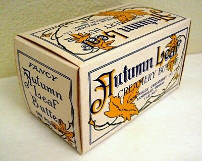 1940 Autumn Leaf Waxed Lanesville Creamery Butter Box Lanesville Ind Old Stock
