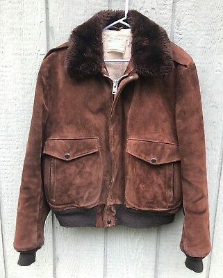 VTG 70's SCHOTT IS-674-MS Brown Roughout Suede Leather Flight Bomber Jacket 42