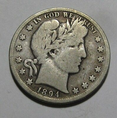 1894 S Barber Half Dollar - Very Good to Fine Condition - 152SA